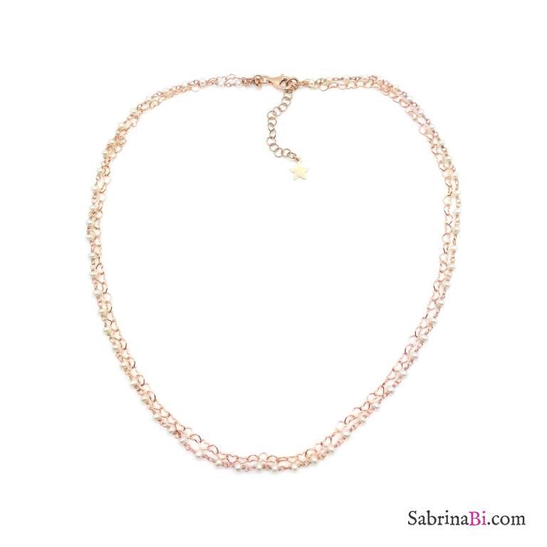 Collana doppia girocollo rosario argento 925 oro rosa Perle e catena micro cuori
