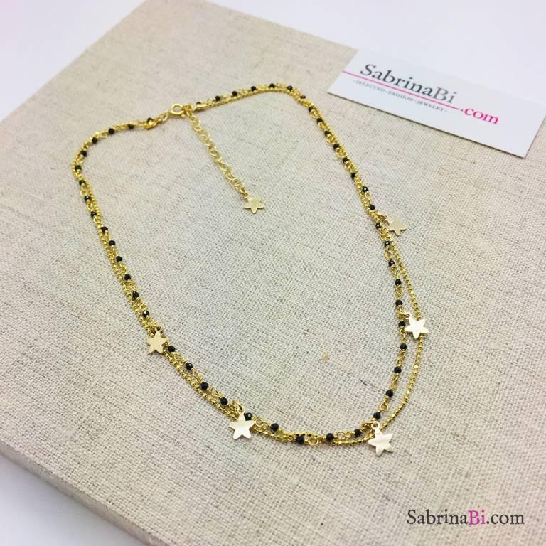Collana doppia micro rosario argento 925 oro giallo Spinelli e Stelle