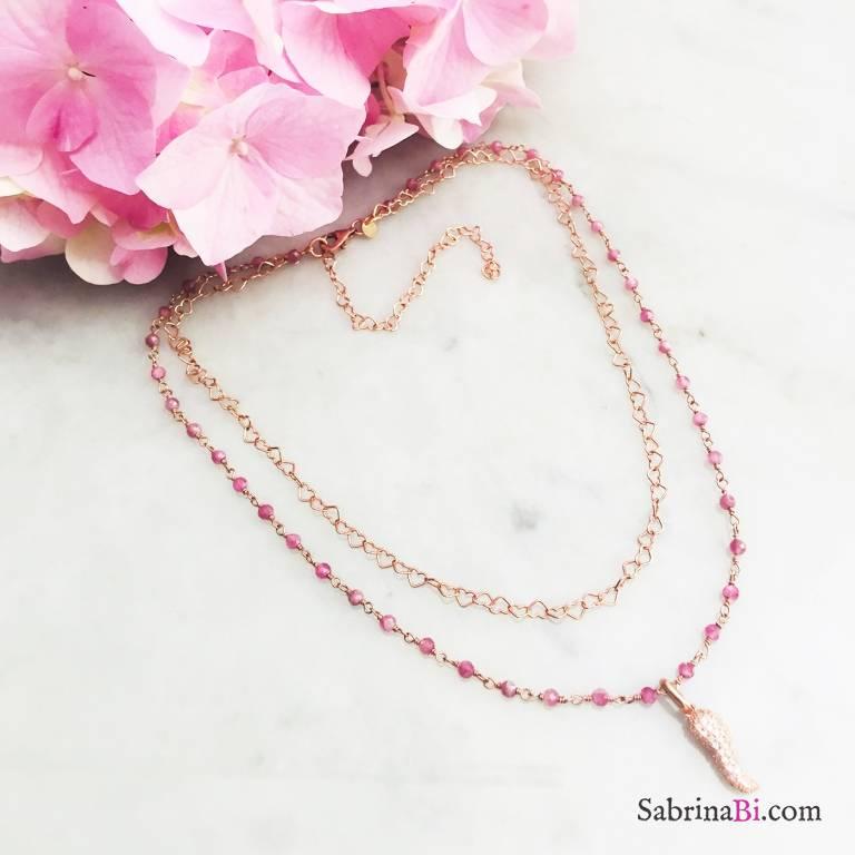 Collana doppia rosario argento 925 oro rosa Quarzo rosa e Cornetto Zirconi