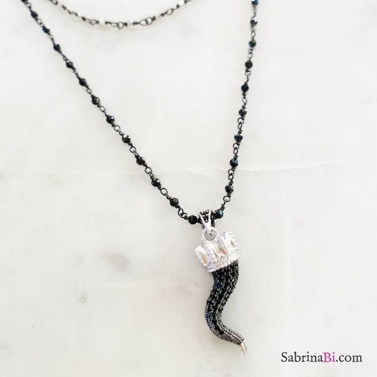 Collana doppia rosario argento 925 rodiato nero Fortuna