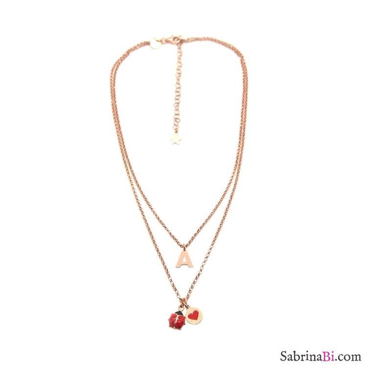 Collana due fili argento 925 oro rosa lettera iniziale Coccinella rossa
