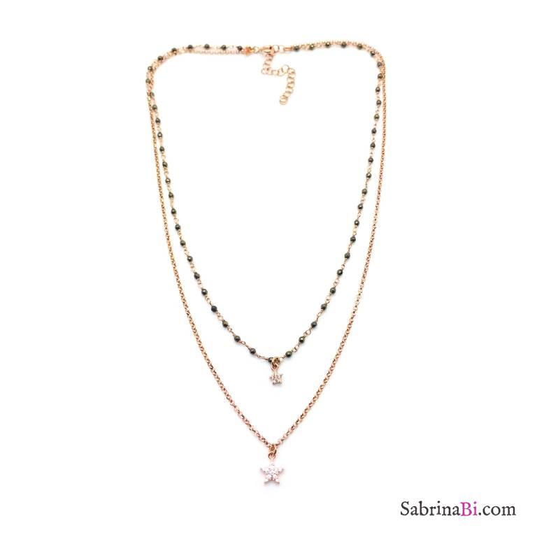 Collana due fili argento 925 oro rosa rosario Olivina e stelle