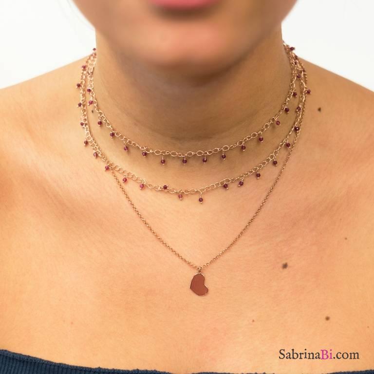 Collana due fili argento 925 oro rosa rosario radice di Rubino e cuore
