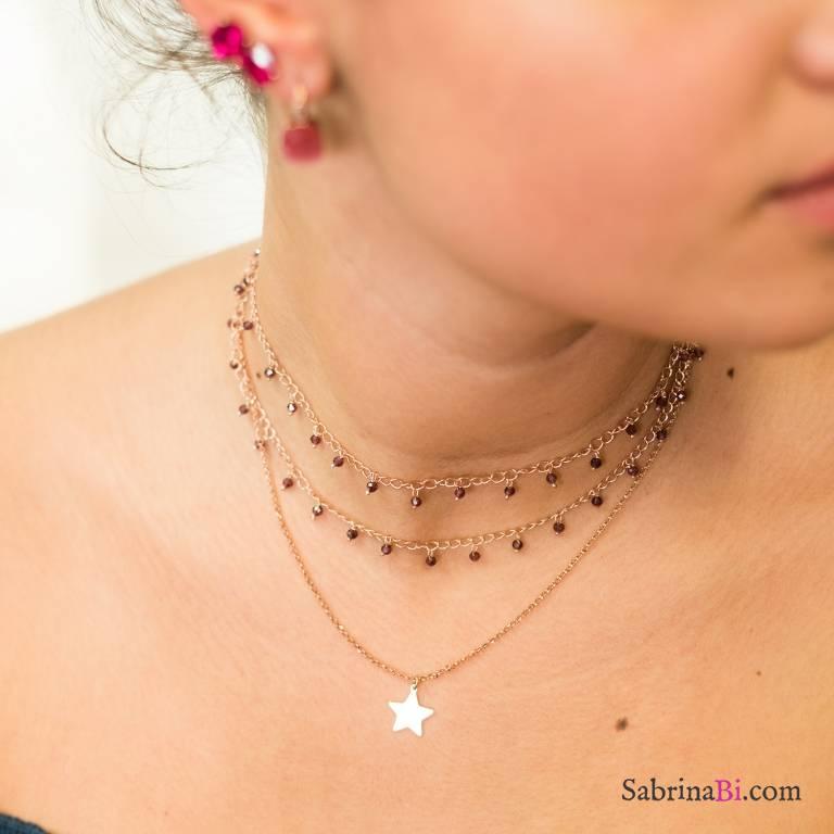Collana due fili argento 925 oro rosa rosario Rodolite viola e stella
