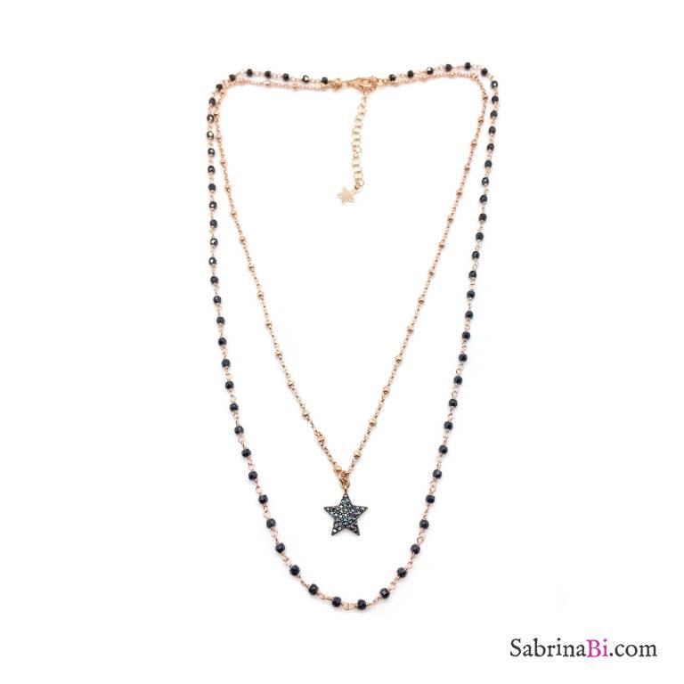 Collana due fili argento 925 oro rosa rosario Spinelli neri e stella Zirconi grande