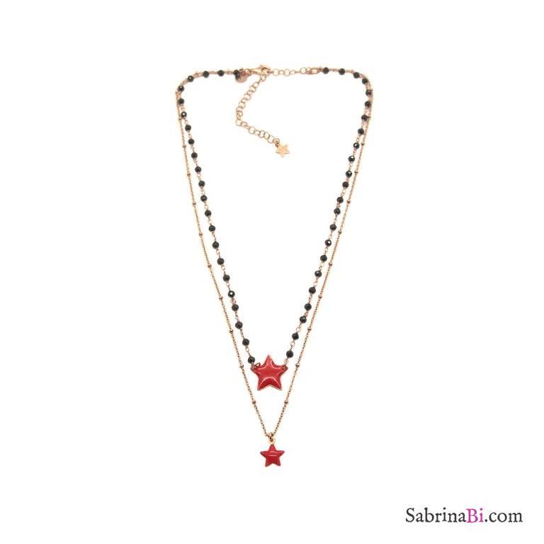 Collana due fili rosario argento 925 oro rosa Spinelli neri e stelle rosse