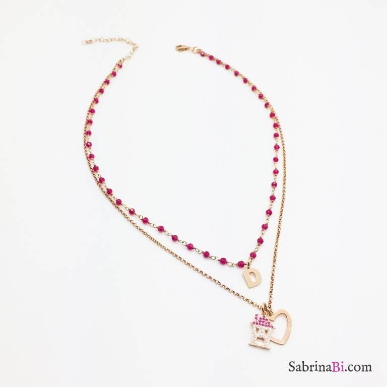Collana due fili rosario argento 925 oro rosa Sweet home