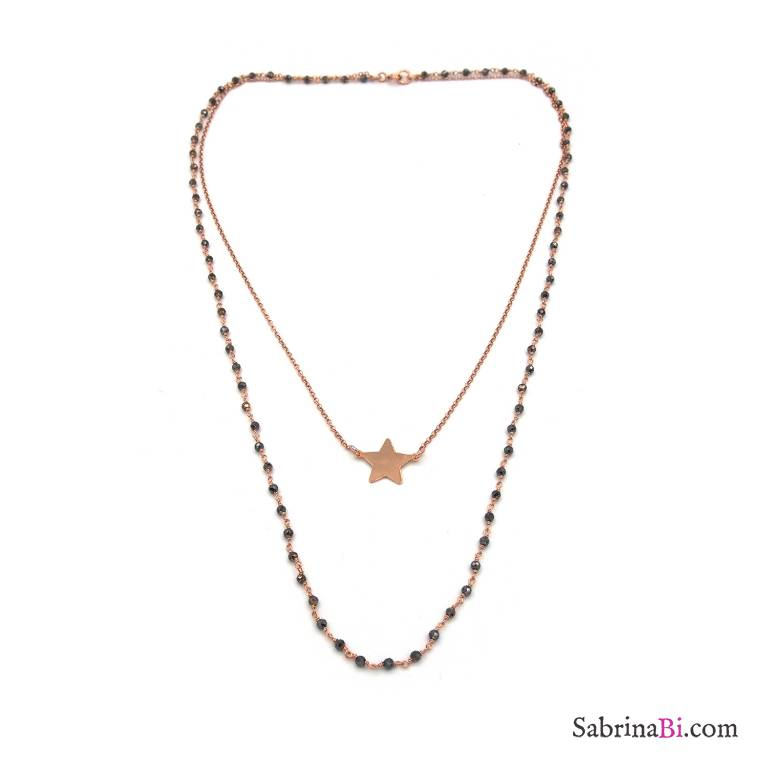 Collana due fili rosario argento 925 oro rosa tormalina e stella