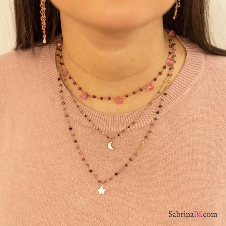 Collana due fili rosario argento 925 oro rosa Tormalina, luna e stella