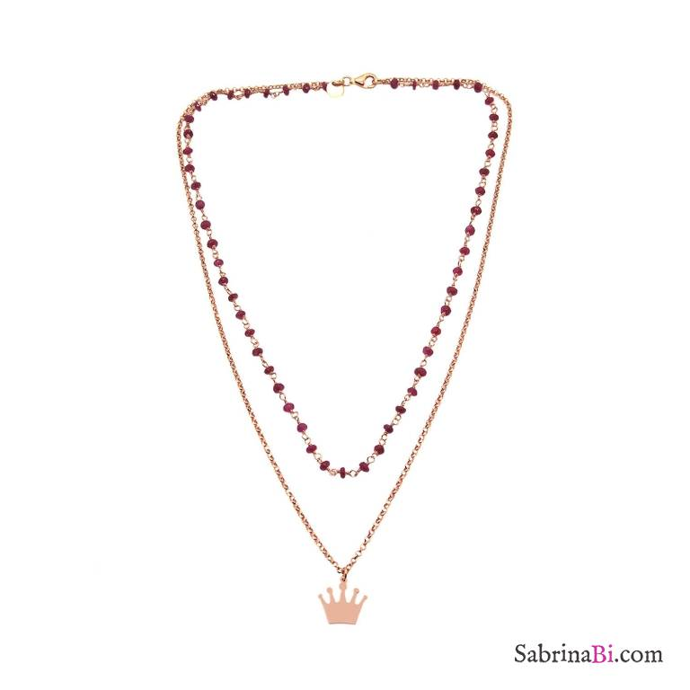 Collana due fili rosario rosso rubino argento 925 oro rosa e corona