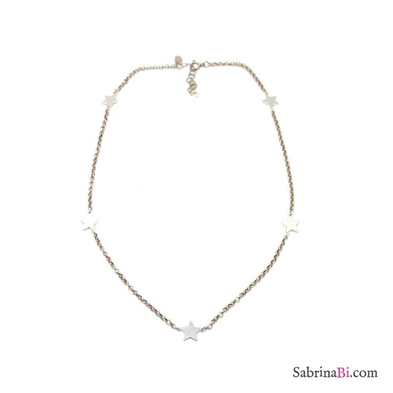 Collana girocollo argento 925 5 Stelle in catena