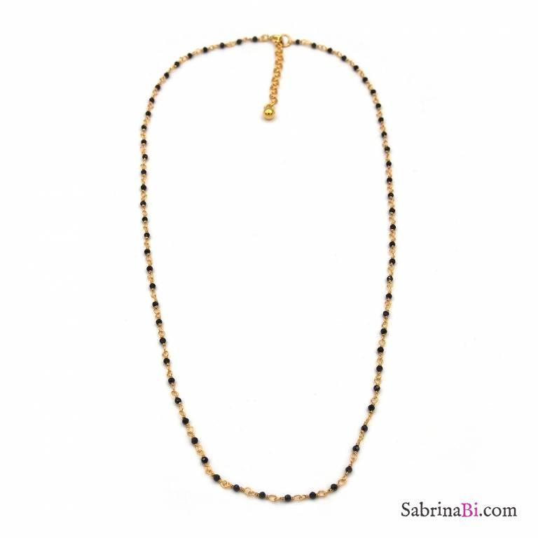 0d143dce5aa Collana girocollo argento 925 bagno oro rosario cristalli neri 1mm ...