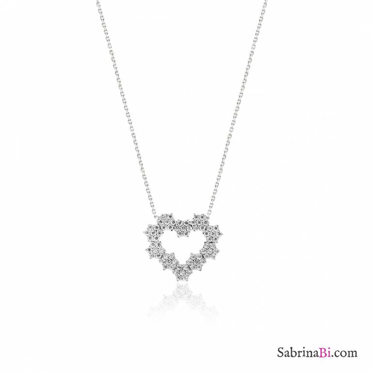 15c0e8004cc Cubic Zirconia geometric Heart sterling silver short necklace ...
