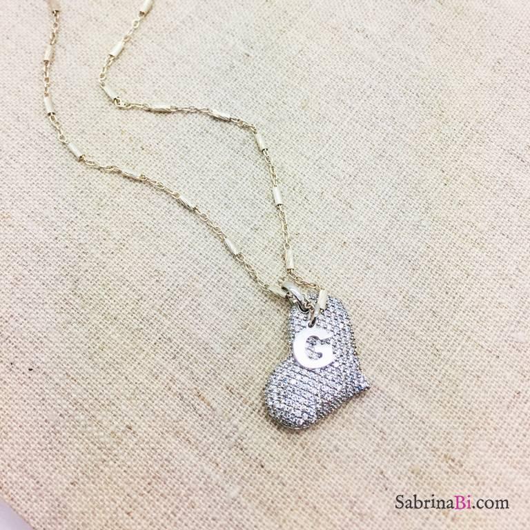 Collana girocollo argento 925 cuore grande Zirconi e lettera iniziale nome