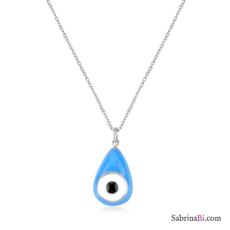 Blue evil eye pendant sterling silver short necklace blue evil eye pendant sterling silver short necklace mozeypictures Choice Image