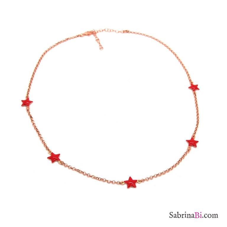 Collana girocollo argento 925 oro rosa 5 stelle rosse