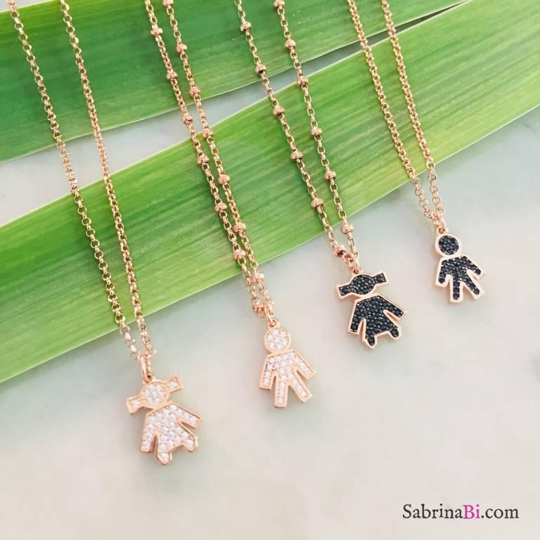 Collana girocollo argento 925 oro rosa Bambino / Bambina Zirconi