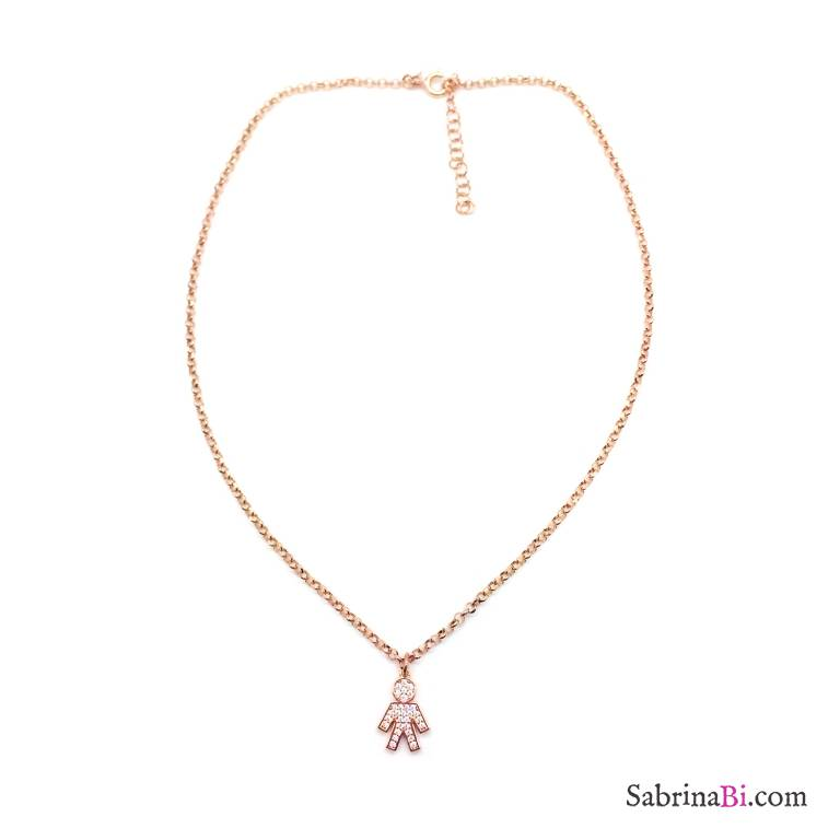 Collana girocollo argento 925 oro rosa Bebè Boy/Girl Zirconi
