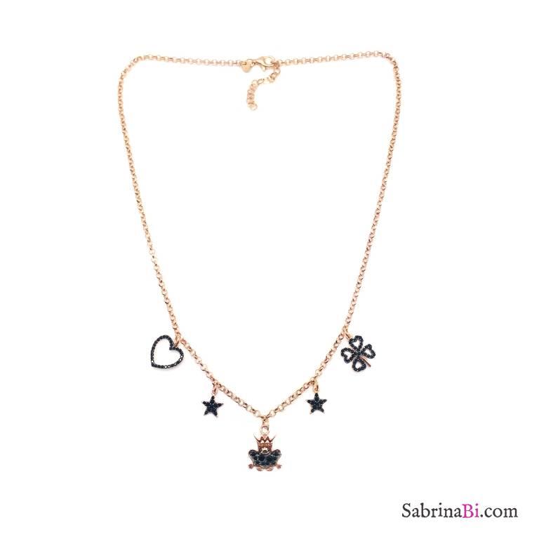 Collana girocollo argento 925 oro rosa charms Zirconi neri