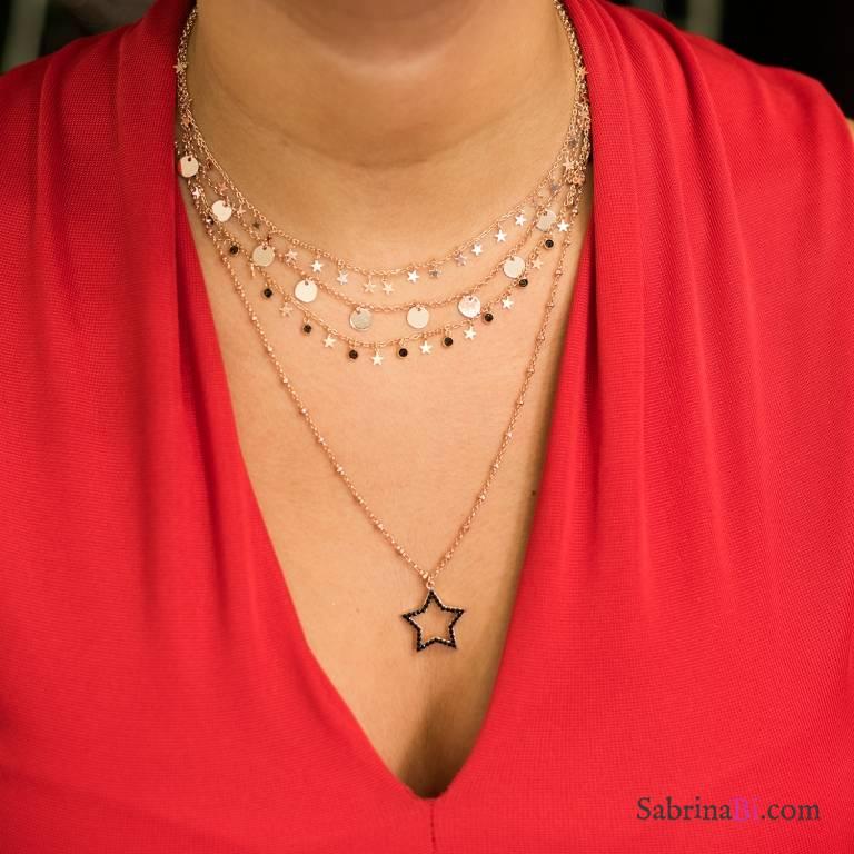Collana girocollo argento 925 oro rosa ciondoli Coins