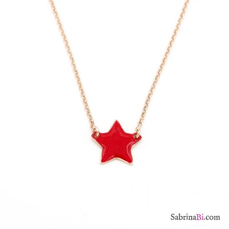 Collana girocollo argento 925 oro rosa ciondolo stella smalto rossa