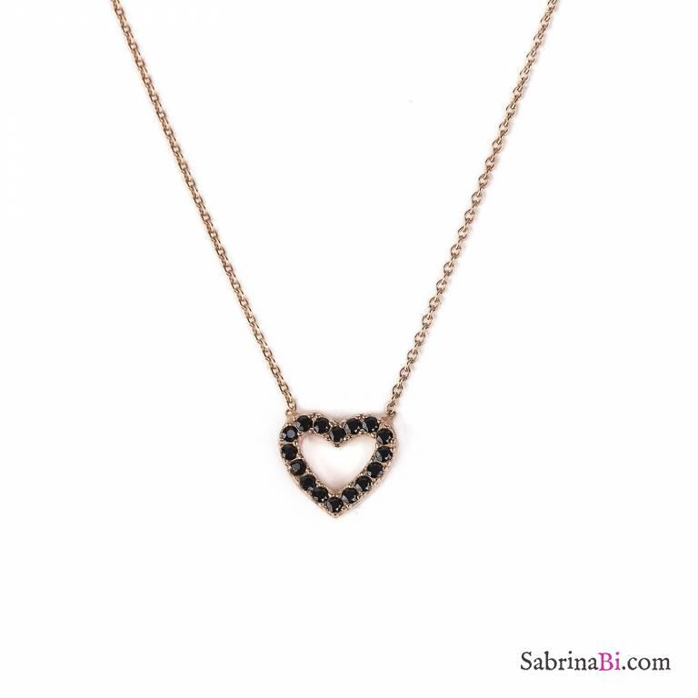 Collana girocollo argento 925 oro rosa Cuore Spinelli neri