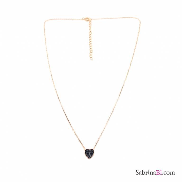 Collana girocollo argento 925 oro rosa Cuore Zirconi neri passante