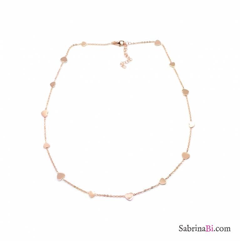 Collana girocollo argento 925 oro rosa Cuori piccoli