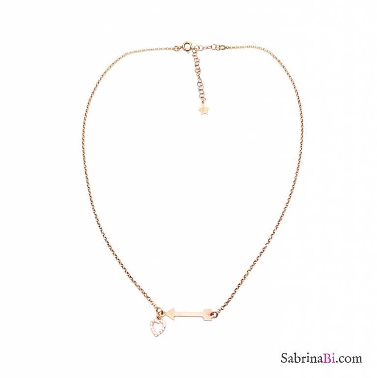Collana girocollo argento 925 oro rosa Freccia Cupido e cuore