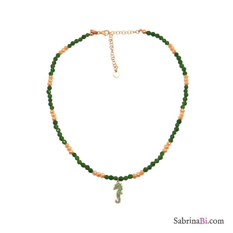 Green Jade and green Zirconia Seahorse rose gold sterling silver necklace