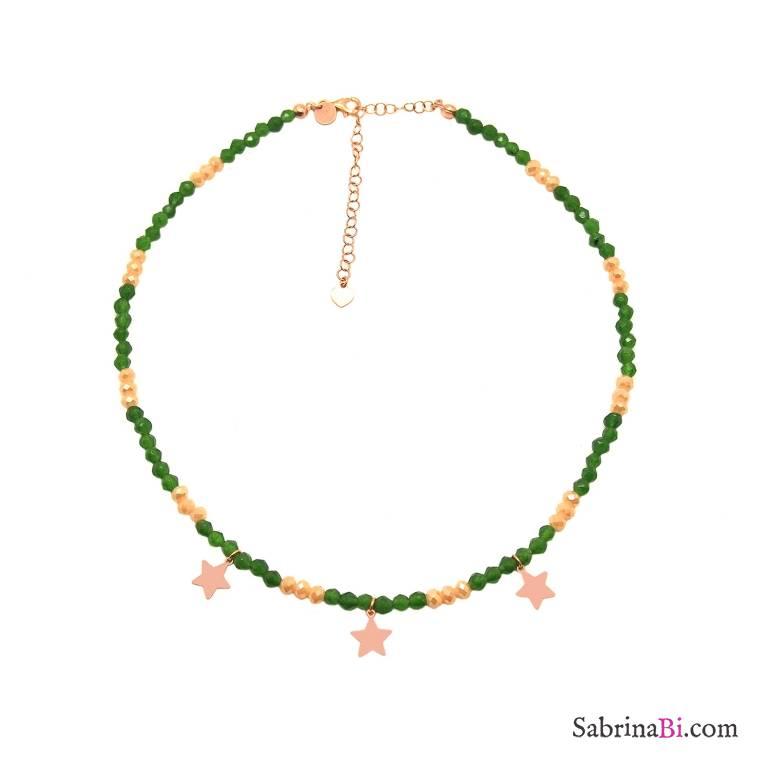 Collana girocollo argento 925 oro rosa Giada verde e stelle