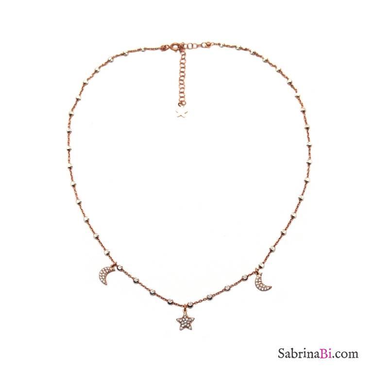 Collana girocollo argento 925 oro rosa palline argento Luna Stella Zirconi