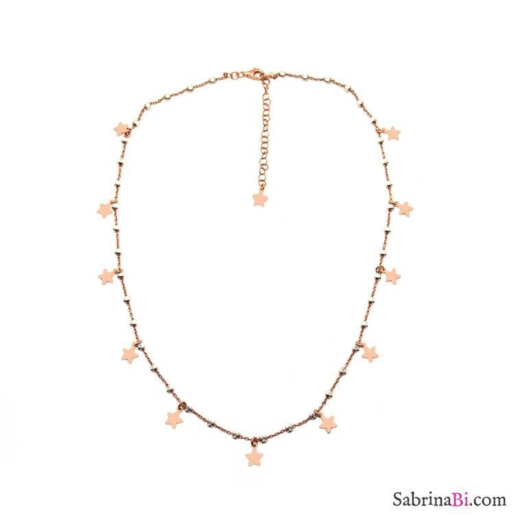Collana girocollo argento 925 oro rosa palline argento Stelle
