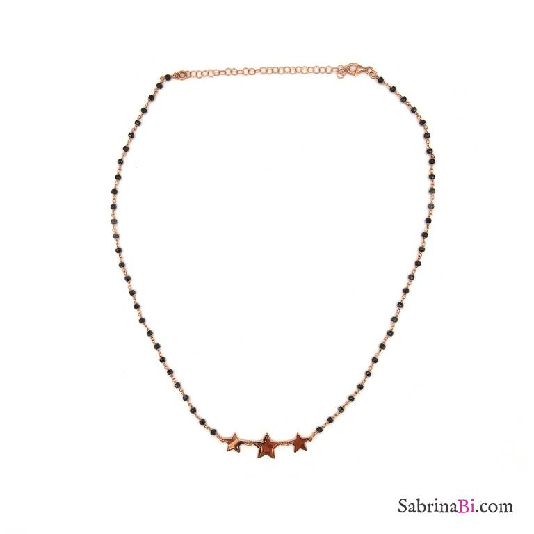 Collana girocollo argento 925 oro rosa rosario cristalli neri e 3 stelle