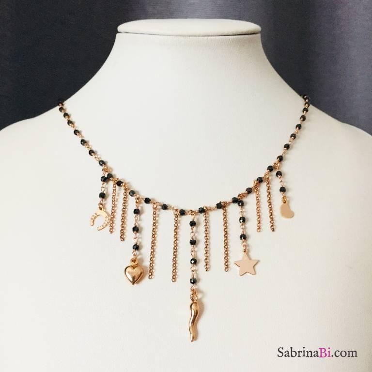 Collana girocollo argento 925 oro rosa rosario Spinelli neri cascata catene e charms