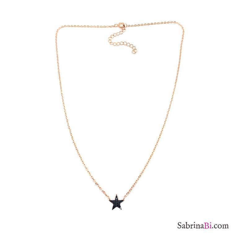 Collana girocollo argento 925 oro rosa Stella Zirconi neri in catena