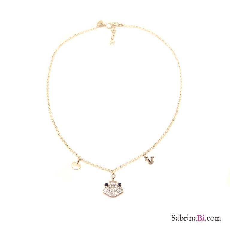 Collana girocollo argento 925 Principe Ranocchio Zirconi