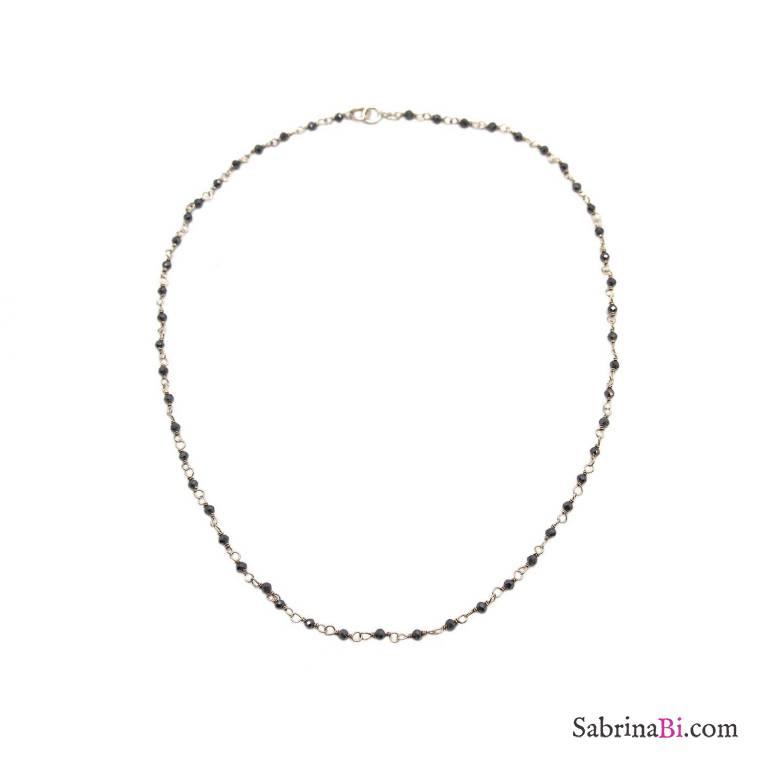 Collana girocollo argento 925 rosario micro cristalli grigi