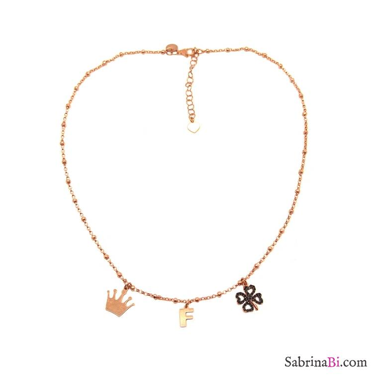 Collana girocollo argento 925 rosario oro rosa lettera iniziale nome e 2 charms