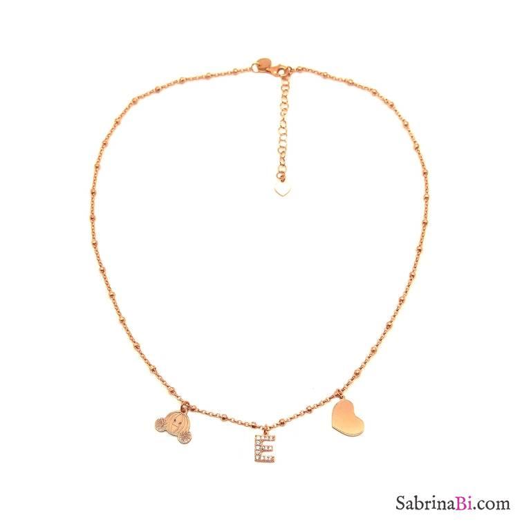 Collana girocollo argento 925 rosario oro rosa lettera iniziale nome Zirconi e 2 charms