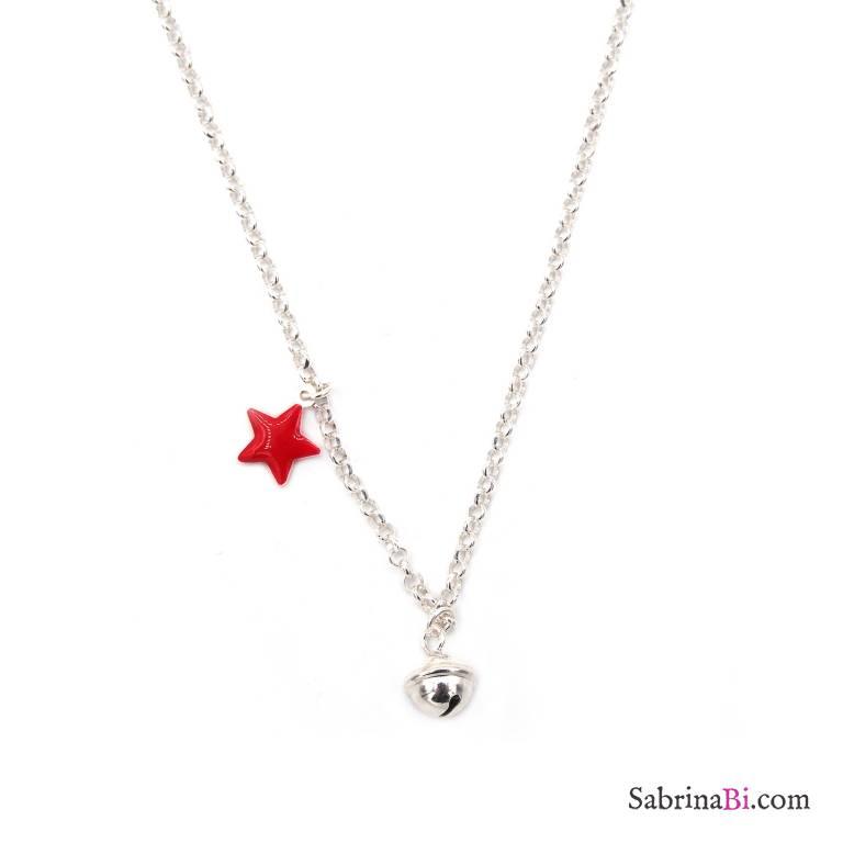 Collana girocollo argento 925 stella rossa e campanellino
