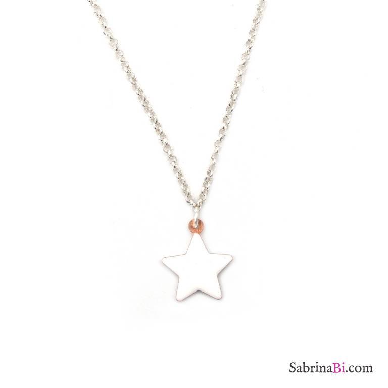 Collana girocollo argento 925 stella smalto bianco