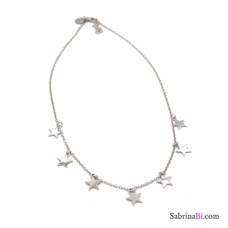 2c167f74ff0e9 Sterling silver choker necklace 7 Stars charms