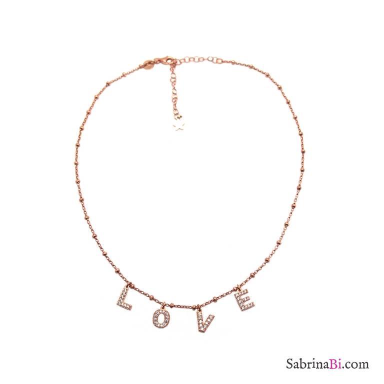 Collana girocollo choker argento 925 rosario oro rosa LOVE Zirconi