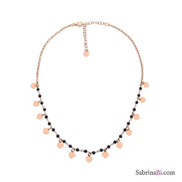 Collana girocollo choker doppia catena argento 925 oro rosa Cuori