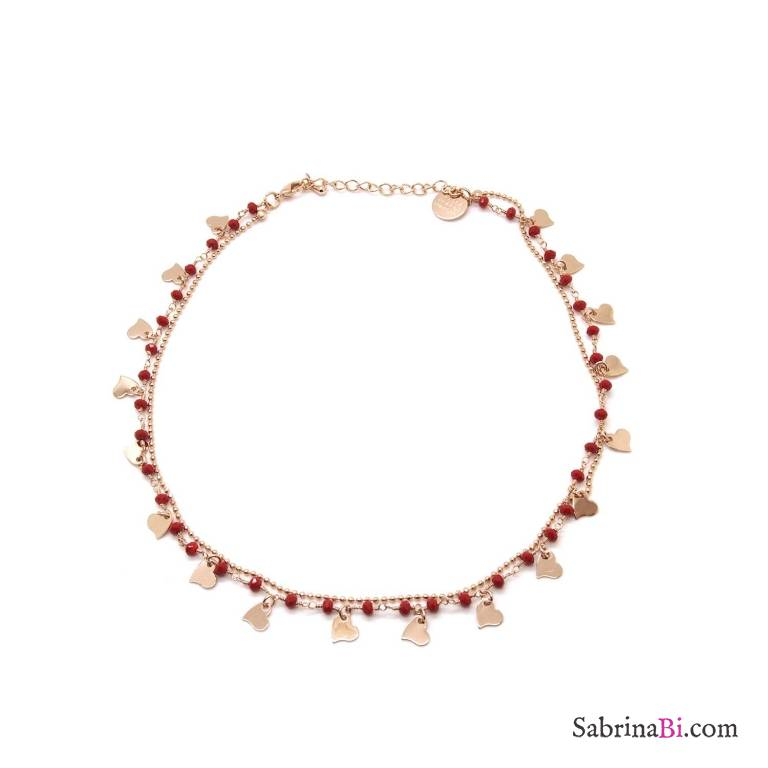 Collana girocollo choker oro rosa doppia rosario rosso e cuori