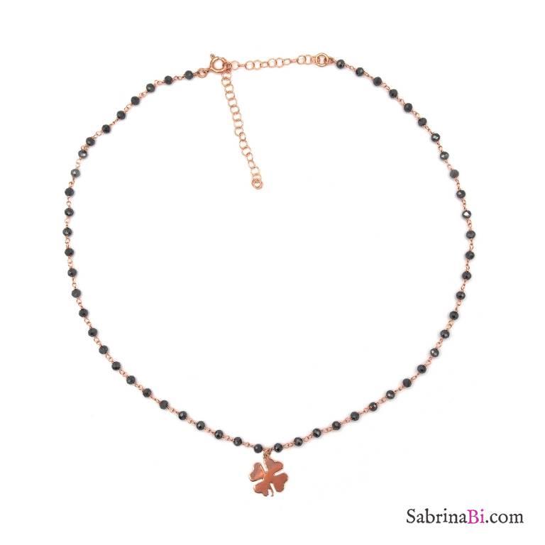Collana girocollo choker rosario argento 925 oro rosa cristalli grigi e quadrifoglio