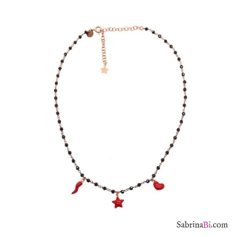 Collana girocollo choker rosario argento 925 oro rosa Spinelli neri e charms rossi