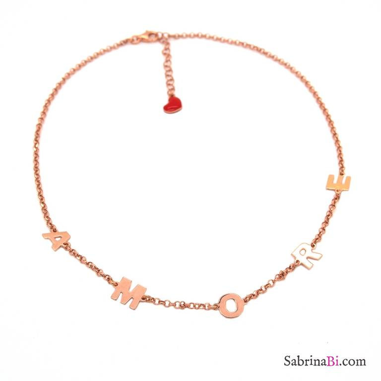 Collana girocollo/ choker/ strozzacollo argento 925 oro rosa Amore