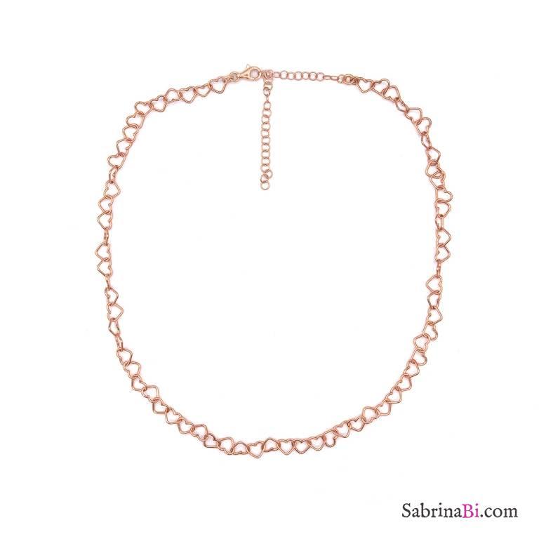 Collana girocollo con maglia a cuore grande argento 925 oro rosa